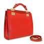 Anna Maria Luisa: Callavino Range Collection – Medium Italian Calf Leather Top Handle Handbag in Cherry (side view)