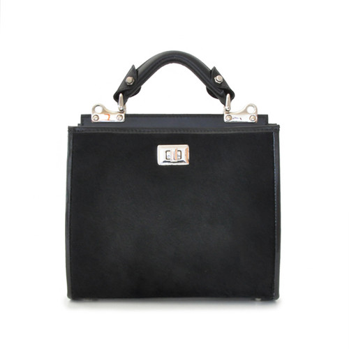Anna Maria Luisa: Callavino Range Collection – Small Italian Calf Leather Top Handle Handbag in Black