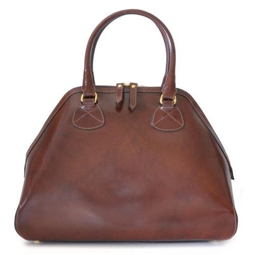 Capalbio: Radica Range Collection – Grande Italian Calf Leather Top Handle Tote Handbag in Coffee