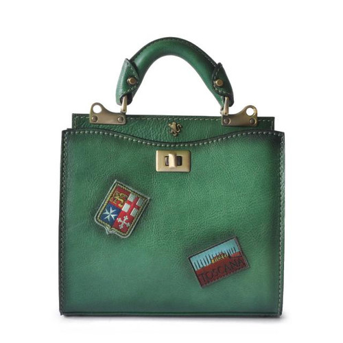 Anna Maria Luisa: Bruce Range Collection – Small Italian Calf Leather Top Handle Handbag in Emerald