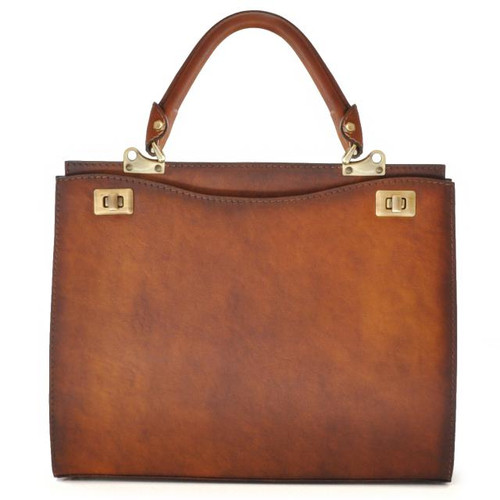 Anna Maria Luisa: Bruce Range Collection – Large Italian Calf Leather Top Handle Handbag in Brown