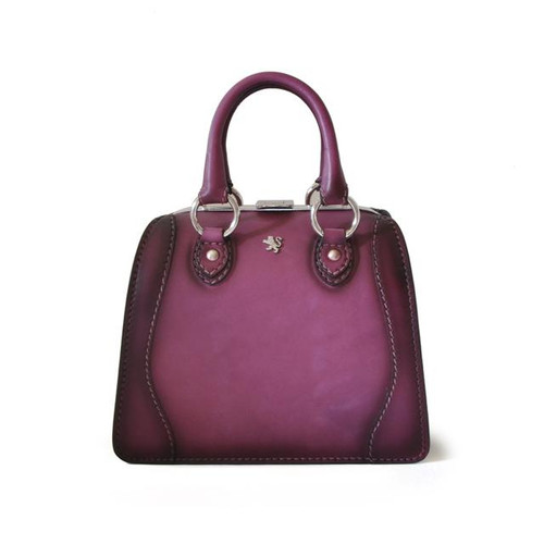 Saturnia: Bruce Range Collection – Small Italian Calf Leather Top Handle Tote Handbag in Violet