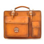 Milano: Bruce Range Collection – Italian Calf Leather Tophandle Briefcase in Cognac