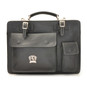 Milano: Bruce Range Collection – Italian Calf Leather Tophandle Briefcase in Black
