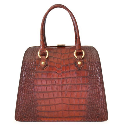 Saturnia: King Croco Range Collection – Grande Italian Calf Leather Top Handle Tote Handbag in Dark Brown