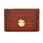 Tullia d'Aragona: King Croco Range Collection – Italian Calf Leather Cross body Clutch in Brown