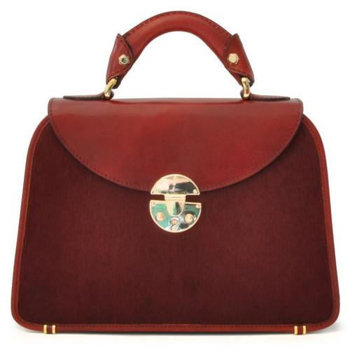 Veneziano: Cavallino Range Collection – Small Italian Calf Leather Top Handle Grab Handbag in Chianti