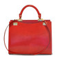 Anna Maria Luisa: King Croco Range Collection – Large Italian Calf Leather Top Handle Handbag in Cherry  (back view)