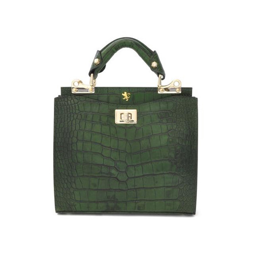 Anna Maria Luisa: King Croco Range Collection – Small Italian Calf Leather Top Handle Handbag in Green
