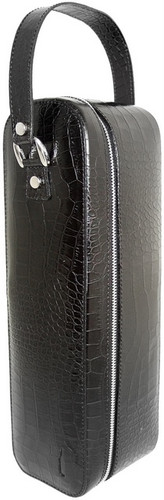 Bacco: King Croco Range Collection – Italian Calf Leather Wine Case in Black