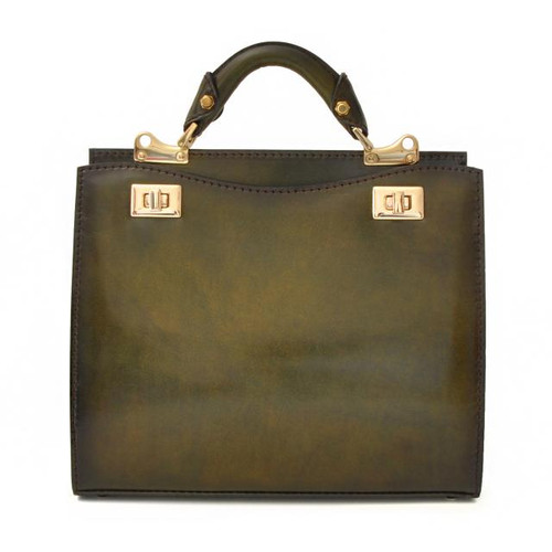 Anna Maria Luisa: Santa Croce Range Collection – Medium Italian Calf Leather Top Handle Handbag in Green