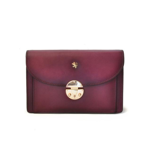 Tullia d'Aragona: Santa Croce Collection – Italian Calf Leather Cross body Clutch in Violet
