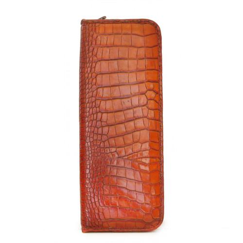 Pratesi Buontalenti Hanging Tie Case in Crocco Leather - Cognac Croco