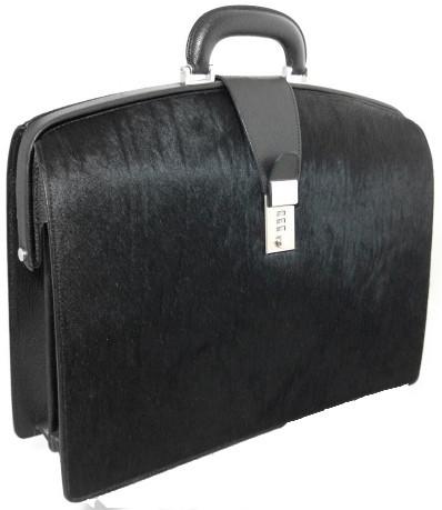 The Brunelleschi: Cavallino Range Collection – Italian Calf  Leather Lawyer Briefcase in Black