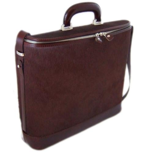 Raffaello: Cavallino Range Collection – Grande Italian Calf Leather Tophandle Laptop Briefcase in Brown