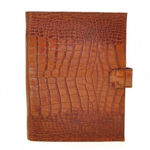 Andrea del Sarto: King Croco Range Collection – Italian Calf Snap Closure Padfolio in Cognac