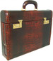 Ghirlandaio: King Croco Range Collection – Italian Calf Leather Small Travel Desk Attache Briefcase in- King Marrone