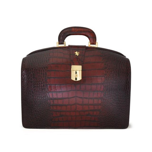Brunelleschi: King Croco Range Collection – Small Italian Calf Leather Lawyer Briefcase in Marrone