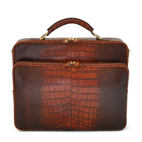 Vasari: King Croco Range Collection – Italian Calf Leather Tophandle Briefcase in Cognac