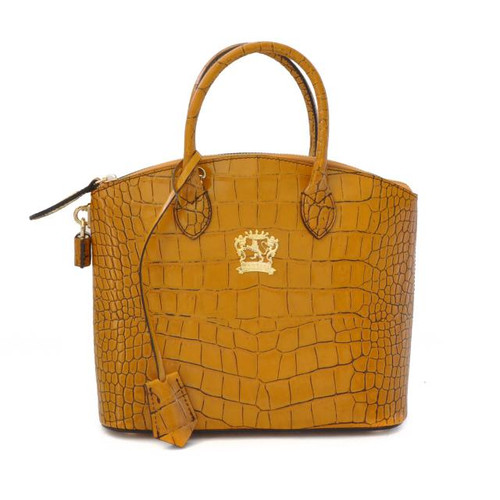 Versilia: King Croco Range Collection – Small Italian Calf Leather Cross body Tote Handbag  in Mustard