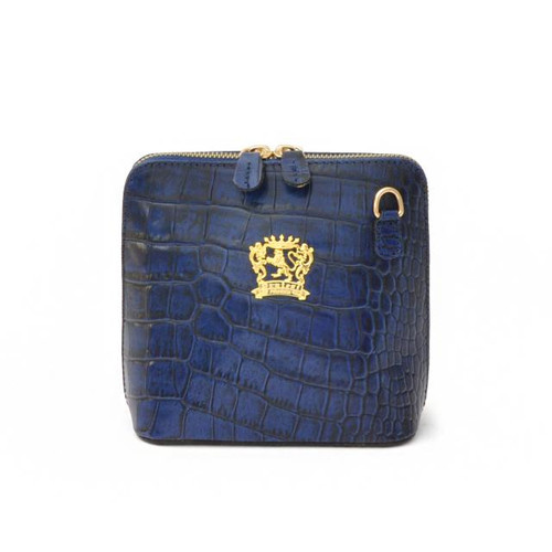 Volterra: King Croco Collection – Italian Calf Leather Cross-body Handbag in Blue