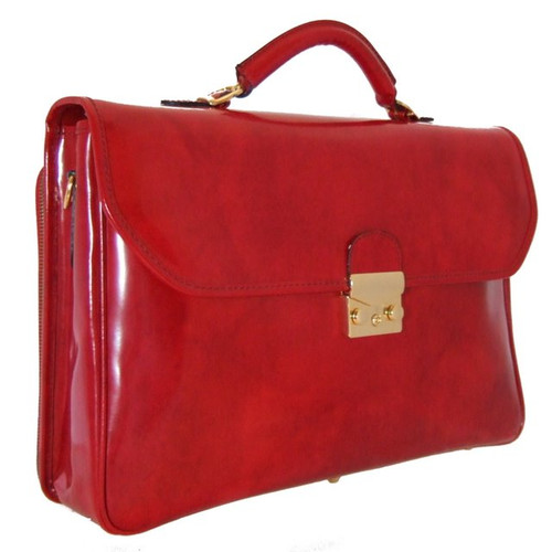 Piccolomini: Radica Range Collection – Single Compartment Briefcase in Cherry