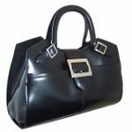 Piero della Francesca: Radica Range Collection – Italian Calf Leather Laptop Handbag  in Black