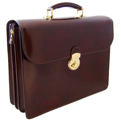 Verrocchio Triple Compartment Leather Briefcase - Coffee