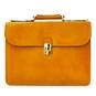 Verrocchio Triple Compartment Leather Briefcase - Mustard
