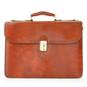 Verrocchio Triple Compartment Leather Briefcase - Brown