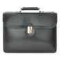 Verrocchio Triple Compartment Leather Briefcase - Black