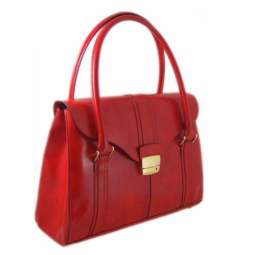 Pinturicchio: Radica Range Collection – Large Italian Calf Leather Shoulder Bag in Cherry