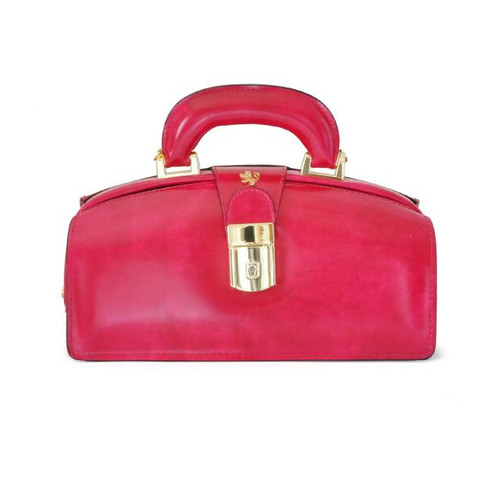 Lady Brunelleschi: Radica Range Collection – Italian Calf Leather Top Handle Lady Doctor Handbag in Fuschia