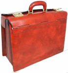 Lorenzo Magnifico II: Radica Range Collection – Triple Compartment Italian Calf Leather Briefcase in - Marrone