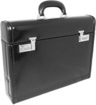 Ghirlandaio: Radica Range Collection –  Italian Calf Leather Small Travel Desk Attache Briefcase in- Black