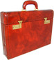 Ghirlandaio: Radica Range Collection –  Italian Calf Leather Small Travel Desk Attache Briefcase in - Brown