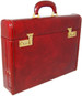 Ghirlandaio: Radica Range Collection –  Italian Calf Leather Small Travel Desk Attache Briefcase in Brown - Brass Code Lock