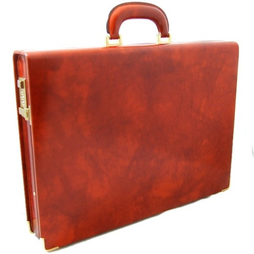 Machiavelli: Radica Range Collection – Slim Medium Italian Calf Leather Attache Briefcase in - Brown