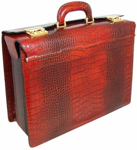Lorenzo Magnifico II: Bruce Range Collection – Triple Compartment Italian Calf Leather Briefcase in - Cognac Croco