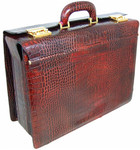 Lorenzo Magnifico II: Bruce Range Collection – Triple Compartment Italian Calf Leather Briefcase in - Dark Brown Croco