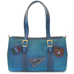 Berna : Bruce Range Collection – Italian Calf Leather Buckle Duffel bag in Blue