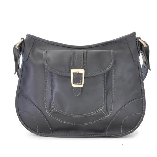 Sellina: Bruce Range Collection – Italian Calf Leather Crossbody Handbag in Black