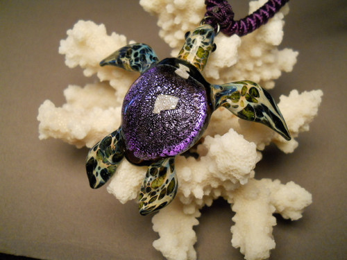 Blown glass jewelry Sea turtle pendant
