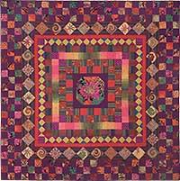"Purple Checkerboard Medallion 78"" x 78"" Kaffe Fassett and Liza"