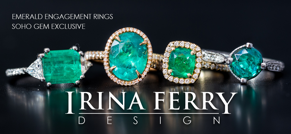 Emerald Engagement Rings by Designer Irina Ferry