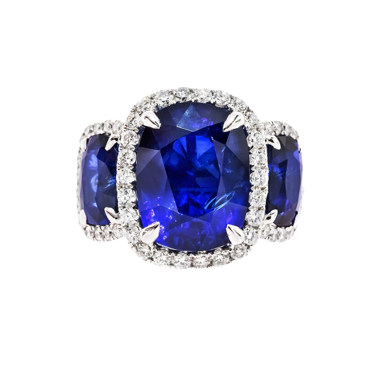 Three Stone Blue Sapphire Ring