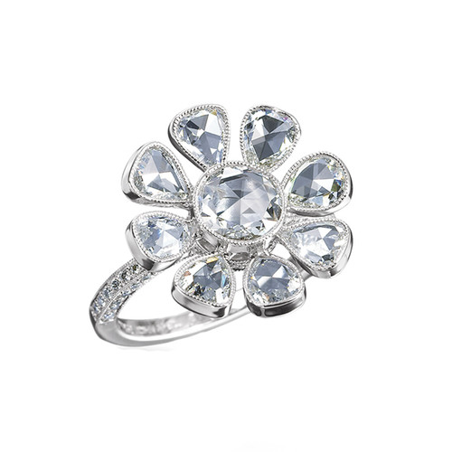 John Apel Diamond Flower Ring in Platinum
