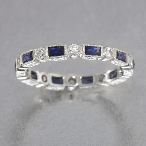 Diamond and Baguette Pink Sapphire Wedding Band | Sapphire Wedding ...