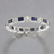 Diamond and  Sapphire Baguette Wedding Band