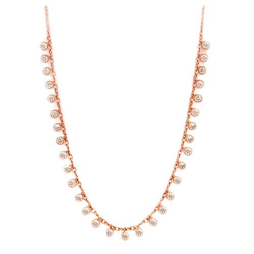 Bezel Diamond Necklace T shirt Necklace Bridal Necklace NYC